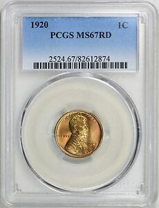 Click now to see the BUY IT NOW Price! 1920 LINCOLN WHEAT CENT 1C PCGS MS67 RD RED LY   PG   $14 000