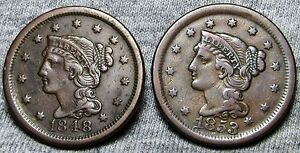 1848   1853 BRAIDED HAIR LARGE CENTS     TYPE COINS LOT     N775
