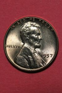 1957 P BU LINCOLN WHEAT CENT PENNY EXACT COIN PICTURED FLAT RATE SHIPPING TOM17