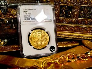 Click now to see the BUY IT NOW Price! PERU 1712 GOLD 8 ESCUDOS DOUBLOON COIN NGC 64 FIN KN  1715 PLATE FLEET SHIPWRECK