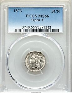 Click now to see the BUY IT NOW Price! 1873 OPEN 3 THREE CENT NICKEL 3CN PCGS MS66 POP  4/1  PG   $7 000