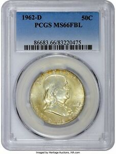 Click now to see the BUY IT NOW Price! 1962 D FRANKLIN HALF DOLLAR 50C PCGS MS66 FBL FULL BELL LINES SPECTACULAR