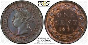 Click now to see the BUY IT NOW Price! 1891 CANADA. LARGE CENT. SLSD OBVERSE 2. PCGS GRADED MS 63 BN.