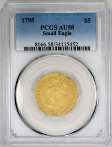 Click now to see the BUY IT NOW Price! 1795 $5 SMALL EAGLE GOLD DRAPED BUST HALF EAGLE   PCGS AU58   US  COIN
