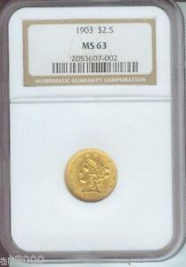 1903 $2.5 LIBERTY QUARTER EAGLE GOLD COIN NGC MS63 GRADED MS 63
