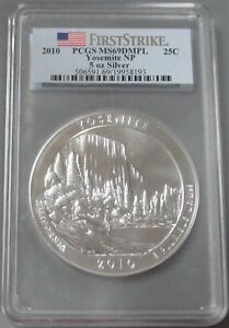 Click now to see the BUY IT NOW Price! 2010 SILVER 5 OZ YOSEMITE NATIONAL PARK PCGS MINT STATE 69 DMPL FIRST STRIKE
