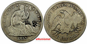 UNITED STATES AR 1/2 DOLLAR 1857 S SEATED LIBERTY TYPE.2 LARGE CHINESE CHOPMARK