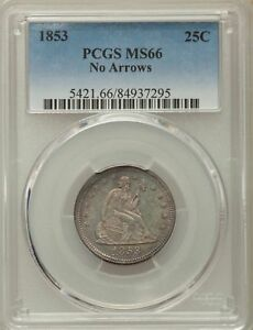 Click now to see the BUY IT NOW Price! 1853 US SILVER 25C SEATED LIBERTY QUARTER   NO ARROWS   PCGS MS66
