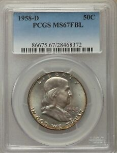 Click now to see the BUY IT NOW Price! 1958 D US SILVER 50C FRANKLIN HALF DOLLAR   PCGS MS67 FBL