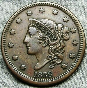 1838 CORONET HEAD LARGE CENT     NICE TYPE COIN     N168