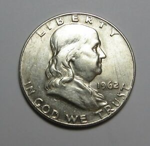 1962 D FLANKLIN HALF DOLLAR    90  SILVER     COMBINED SHIPPING  LOT E25