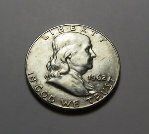 1962 D FRANKLIN HALF DOLLAR  VERY NICE   90  SILVER  COMBINED SHIPPING   LOT L89