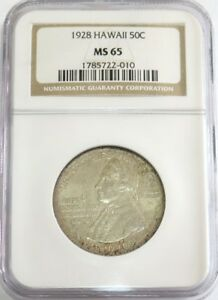 Click now to see the BUY IT NOW Price! 1928 SILVER HAWAII COMMEMORATIVE HALF DOLLAR COIN NGC MINT STATE 65