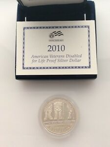 2010 W AMERICAN VETERANS DISABLED PROOF SILVER DOLLAR WITH/ BOX SLIDER & COA