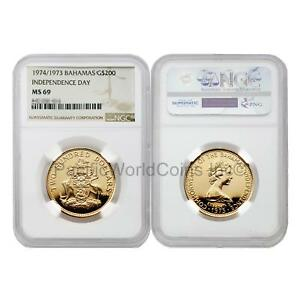 Click now to see the BUY IT NOW Price! BAHAMAS 1974/1973 INDEPENDENCE DAY $200 GOLD NGC MS69