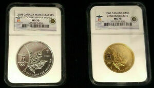 Click now to see the BUY IT NOW Price! 2008 CANADA MAPLE LEAF 2 OZ GOLD AND SILVER SET NGC MS 70  LOW POP LOW MINT