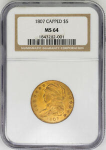 1807 $5 GOLD CAPPED BUST HALF EAGLE   NGC MS64   US  COIN