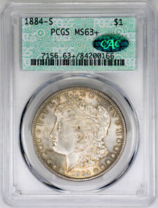 Click now to see the BUY IT NOW Price! 1884 S $1 MORGAN SILVER DOLLAR   PCGS MS63  CAC APPROVED   US  COIN