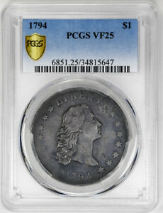Click now to see the BUY IT NOW Price! 1794 $1 FLOWING HAIR DOLLAR   PCGS VF25   US  COIN