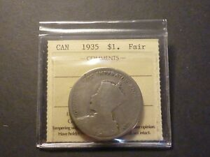 Click now to see the BUY IT NOW Price! LOWBALL   1935 CANADA SILVER DOLLAR POCKET PIECE LUCKY COIN ICCS FAIR F 2