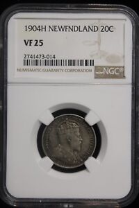 Click now to see the BUY IT NOW Price! 1904 CANADA / NEWFOUNDLAND. 20 CENTS. NGC GRADED VF 25