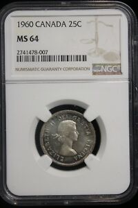 Click now to see the BUY IT NOW Price! 1960 CANADA. 25 CENTS. NGC GRADED MS 64