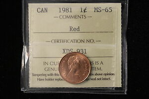 Click now to see the BUY IT NOW Price! 1981 CANADA. ONE CENT. ICCS GRADED MS 65 RED .  XDS931