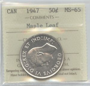 Click now to see the BUY IT NOW Price! 1947 ML 50 CENT  S7/7/7 CANADA ICCS GRADED MS 65   FLAWLESS GEM