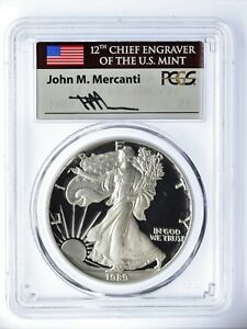 Click now to see the BUY IT NOW Price! 1989 S PROOF SILVER EAGLE PR70 PCGS MERCANTI FLAG