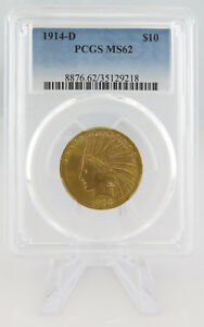 1914 D $10 INDIAN HEAD GOLD EAGLE COIN PCGS MS62