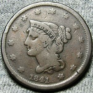 1841 BRAIDED HAIR LARGE CENT     TYPE COIN     N773
