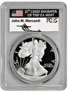 Click now to see the BUY IT NOW Price! 1993 P $1 1OZ PROOF SILVER EAGLE PR70DCAM PCGS MERCANTI FLAG
