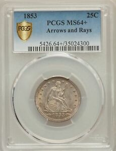 Click now to see the BUY IT NOW Price! 1853 US SILVER 25C SEATED LIBERTY QUARTER   ARROWS AND RAYS   PCGS MS64