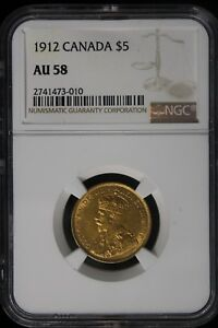 Click now to see the BUY IT NOW Price! 1912 CANADA. 5 DOLLARS. NGC GRADED AU 58. GOLD.