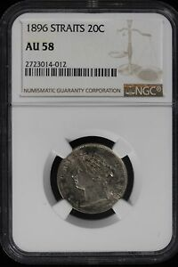 Click now to see the BUY IT NOW Price! 1896 STRAITS SETTLEMENTS. 20 CENTS. NGC GRADED AU 58.