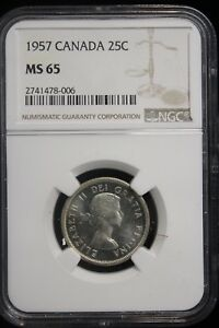 Click now to see the BUY IT NOW Price! 1957 CANADA. 25 CENTS. NGC GRADED MS 65