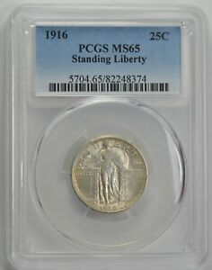 Click now to see the BUY IT NOW Price! 1916 STANDING LIBERTY QUARTER 25C MS 65 PCGS CERTIFIED  SILVER COIN