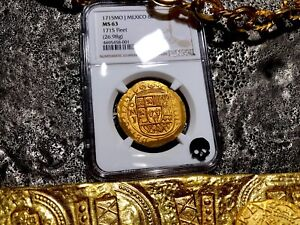 Click now to see the BUY IT NOW Price! MEXICO 1715 FLEET SHIPWRECK 8 ESCUDOS NGC 63 PIRATE GOLD TREASURE COB COINS