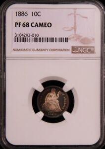 Click now to see the BUY IT NOW Price! 1886 SEATED LIBERTY DIME 10C NGC PF68 PR68 CAMEO POP 3/0 PG   $17 000