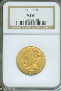 1915   1915 P   $10 INDIAN EAGLE NGC MS64 NICE MS 64 BETTER DATE  NEAR GEM