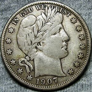 1907 D BARBER HALF DOLLAR      STUNNING ORIGINAL PROBLEM FREE      D359