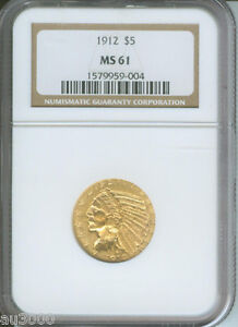 1912 $5 INDIAN NGC MS61 MS 61 BETTER DATE