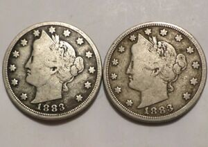 LOT OF 2 1883 WITH CENTS & 1883 W/O CENTS MID GRADE SEMI KEY MOST OF