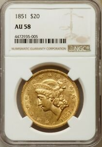 1851 $20 LIBERTY HEAD GOLD DOUBLE EAGLE NGC AU58 NICE COIN
