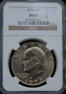 Click now to see the BUY IT NOW Price! 1972 D EISENHOWER NGC MS67 KEY TO IKE SERIES POP 8/0 PRICE GUIDE   $4 650
