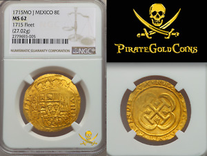 Click now to see the BUY IT NOW Price! MEXICO 1715 FLEET SHIPWRECK 8 ESCUDOS NGC 62 QUASI ROYAL PIRATE GOLD COINS