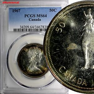 Click now to see the BUY IT NOW Price! CANADA ELIZABETH II SILVER 1967 50 CENTS PCGS MS64 NICE TONING PROOF LIKE KM 69