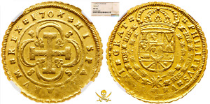 Click now to see the BUY IT NOW Price! SPAIN 1704 8 ESCUDOS NGC 55 PIRATE GOLD COINS TREASURE SHIPWRECK DOUBLOON COB