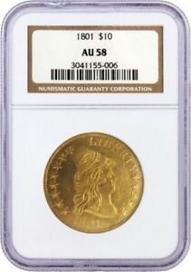1801 $10 CAPPED DRAPED BUST RIGHT EAGLE GOLD NGC AU58 006