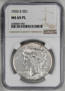 Click now to see the BUY IT NOW Price! 1926 S $1 PL PEACE DOLLAR   NGC MS65PL CERTIFIED US  COIN
